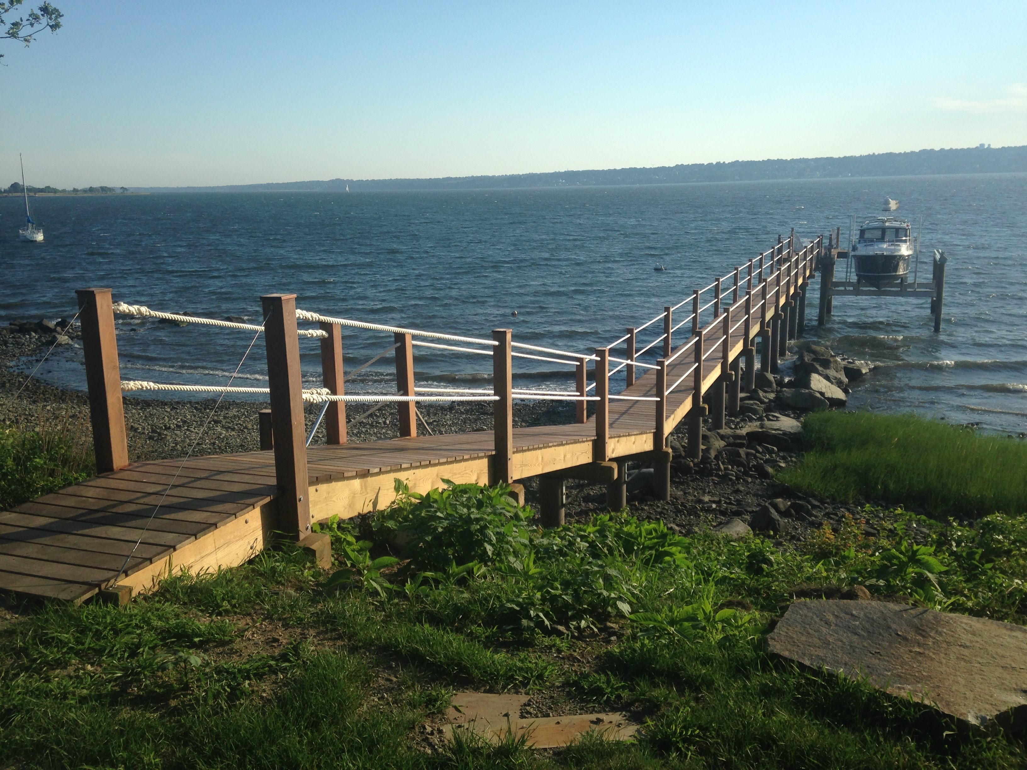 Residential pier with boat lift - Tiverton RI